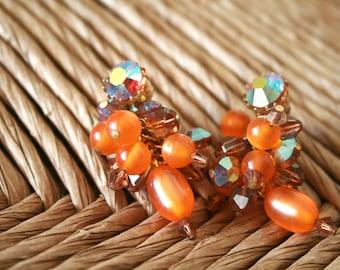 Vintage Bright Orange Beaded Clip On Earrings