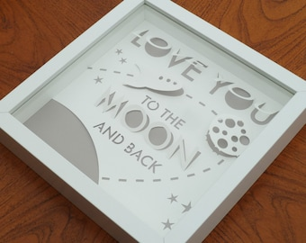 Love You to the Moon and Back - Original Papercut Art - Various Colour Options