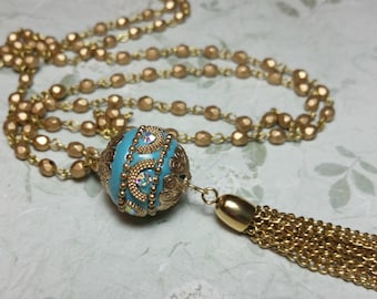 Long Tassel Necklace, Boho Tassel Necklace, Layering Necklace, Blue Jewelry, Bohemian Jewelry, Boho Necklace, Beaded Chain, Gypsy Necklace