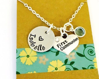 Cross Necklace,First Holy Communion Hand Stamped  Necklace, Communion Jewelry, Personalized Cross Necklace