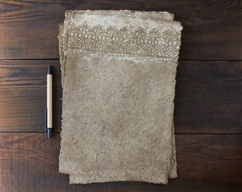 Set of handmade paper - 3 sheets of paper - A4 paper - Textured paper - Deckle edge - Art paper - Eco friendly - Lace paper