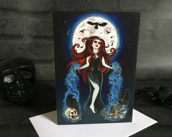 Greeting Card - Gothic Blank Inside Pagan Fantasy Goth Moon Raven Wicca Celtic Goddess Bones Death Birthday Skull Horror Dark Spooky Creepy