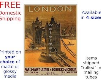 Poster, London Travel - Tower Bridge - Channel Crossing - Vintage Rail Travel Print Paris Saint Lazare Victoria (187090806)