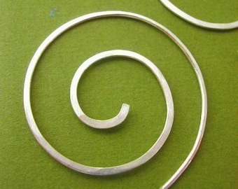 BLACK FRIDAY FREE SHIPPING - Silver Spiral Hoops -- large