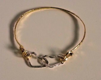 Sterling Silver and Brass Double Heart Bangle