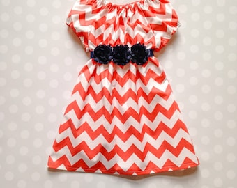 Size 3 months - Ready to Ship - Baby Girls Chevron Cap Sleeve Dress in Coral