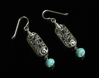 Turquoise & Silver Filigree Earrings, Beaded Dangle Earrings, Long Silver Boho Earrings, Unique Boho Jewelry Gift for Women, Gift for Her