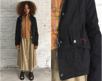 vintage black Barbour jacket / waxed cotton jacket / duck jacket