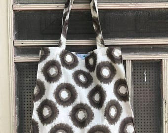 Fair Trade Handblock Print Big Dots Black and White Tote Bag