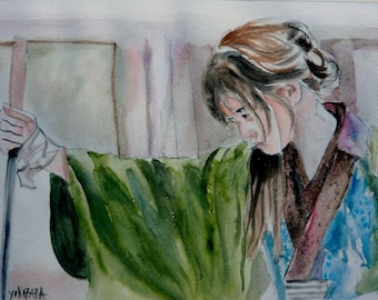 watercolor woman Samurai concentrated