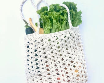 Farmers Market Bag Crochet Pattern - reusable shopping bag - Farmers Market Bag Crochet Pattern - Grocery Bag