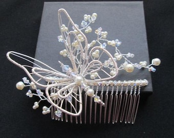 VANESSA: Hand crafted Butterfly Bridal Hair Comb with Swarovski crystals and pearls. Very Bohemian with a touch of Romance.