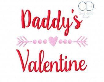 Valentine Embroidery Design, Daddy's Valentine Embroidery Design