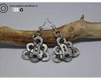 Bicycle Earrings / Bike Chain Earrings / Recycled Jewelry / Upcycled Earrings / Gift for Cyclists / Bike Parts Earrings / Dangle Earrings