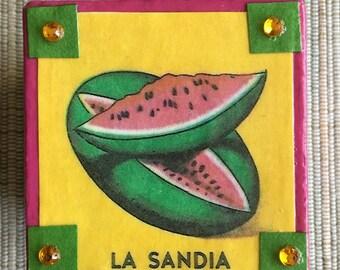 Loteria La Sandia Watermelon Decoupage gift box