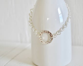Sterling Silver Hammered Circle Choker - Silver Chain Choker - Hammered Circle Necklace - Chainmaille Necklace