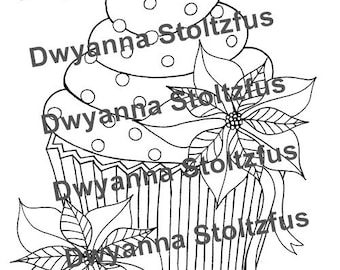 Poinsettia Cupcake Coloring Page JPG