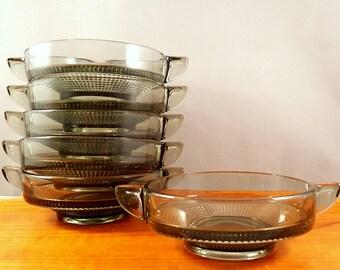 """6 vintage Gullaskruf """"Vineta"""" glass dessert bowls by Kjell Blomberg, smoke gray"""