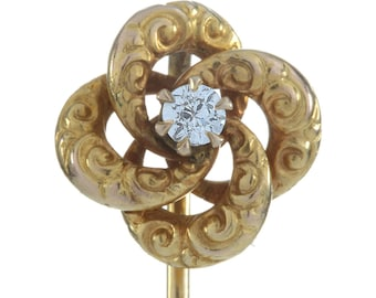 Stick pin stickpin Victorian Diamond gold  antique vintage | old European diamond | 14 kt yellow gold | pinwheel Tie pin