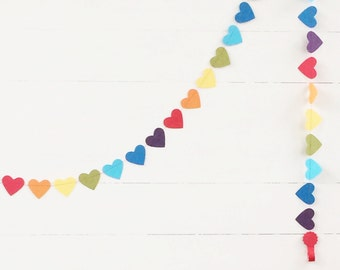 Rainbow Heart Garland - Rainbow Party - Colorful Rainbow Birthday