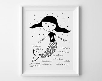 Mermaid print, kids wall art, nursery wall print, Mini learners nursery art, best selling items, baby girl nursery print, playroom prints