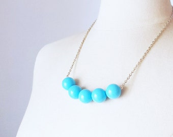 Minimalist Turquoise Necklace, Vintage chunky Lucite strand necklace, layered necklace, bead row layering necklace, Birthday gift for her