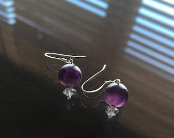 Amethyst and Herkimer Diamond Earrings, Amethyst Earrings