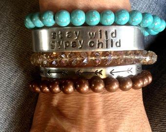 Bracelet set, cuffs, turquoise, stay wild, gypsy child