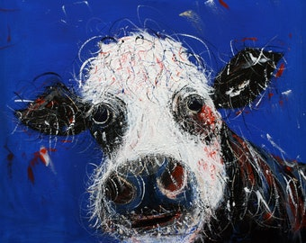 Delia the Cow Acrylics on Canvas