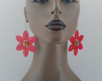 Gorgeous Red Aluminum Flower Earrings, Embellished with multi color Shiny Marble, Large Earrings, Women's Earrings, Fashion Earrings.