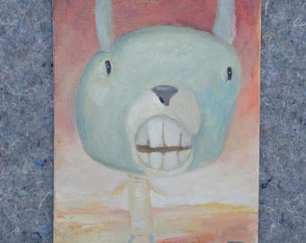 Painting Contemporary Illustration Happy Monster Oil Jacqueline Myers-Cho