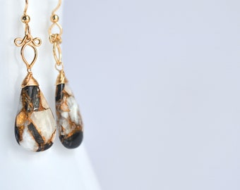 Sunstra - Copper Calcite and Obsidian and 14k Gold Filled Earrings || Statement Earrings || Gold Filled Earrings || Black and White Earrings