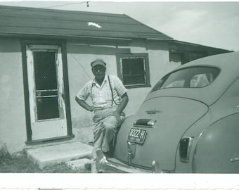 The Cool Ohio Guy Standing Outside Little House With Car 1950s 50s Vintage Photograph Black White Photo