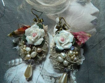 Embroidered and embellished, pearl earrings, freshwater pearls, lace, silk, ceramic glossy