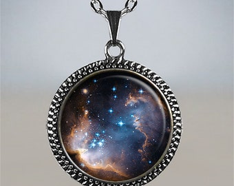 Stardust necklace, galaxy necklace space photography pendant star pendant astronomy pendant astronomer's gift stargazer gift
