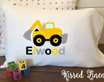 Personalized Construction Truck on White Toddler Travel Pillowcase Soft 100% Cotton Flour Sack Fabric Backhoe Concrete Dump Tow Truck Pillow