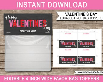 Valentine's Day Gift Bag Toppers - Printable Valentine Tags - Gift Tags - Chalkboard - 4 inches wide - INSTANT DOWNLOAD with EDITABLE text