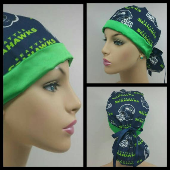 Hanmade Turn Up Ponytail Medical Scrub Hat Seattle Seahawks