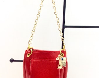 "Red Chain Strap Purse, 18"" Doll Purse, American Girl Doll Purse, Doll Accessories"