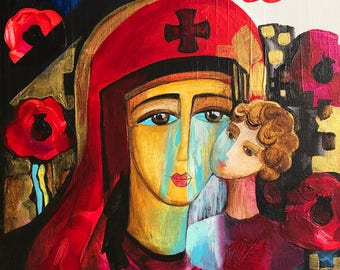 Original Painting, Mixed Media on Canvas, Ukrainian Madonna Crying Madonna, In Memory of Ukrainian Soldiers