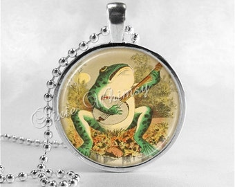 FROG Necklace, Frog Playing Banjo, Frog Band, Frog Pendant, Frog Jewelry, Frog Charm, Glass Photo Art Bezel Necklace, Anthropomorphic Frog