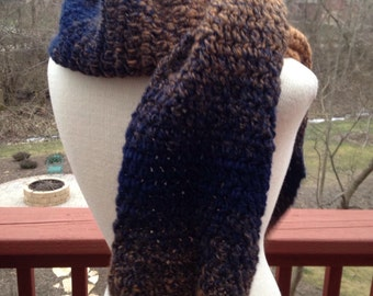 Crocheted ombré scarf, blue and brown scarf, warm winter scarf, handmade accessory, shoulder wrap, Valentine's Day gift, handmade scarf,