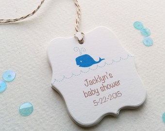 Baby whale custom favor tag, cute baby shower gift tags, personalized baby favor tags, first birthday favor tags, set of 12 (TB-06)