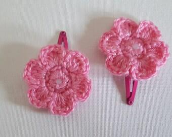 Crochet sparkle pink daisy flower hair clips sleepies slides baby toddler girls spring
