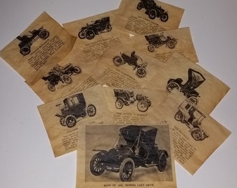 11 antique car clippings reproduction images sepia tone parchment 11 pieces Early Automobiles vintage paper ephemera art supplies 1x