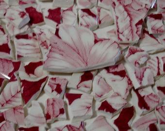 Mosaïque de carreaux Toile rose & rouge cassé plaque-tesselles en faïence terre de tuiles et de pièces