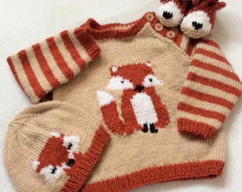 PDF Fox Cub Sweater Set knitting pattern instant download. Jumper hat booties