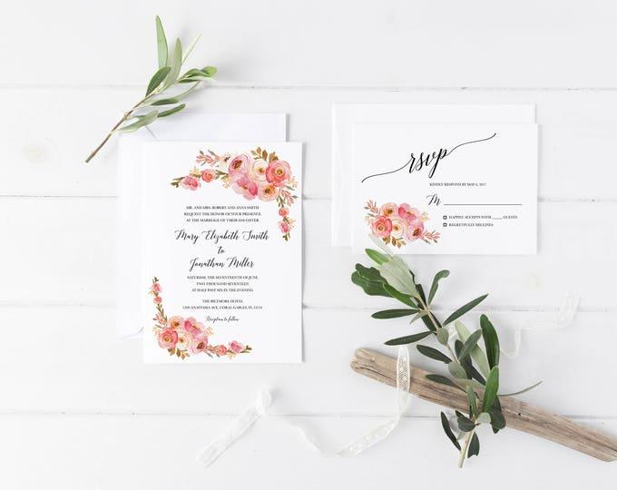 Blush Wedding Invitation, Pink Floral Wedding Invitation, Blush Floral Invitation, Rustic Wedding Invitation, Boho Wedding, Printable Invite