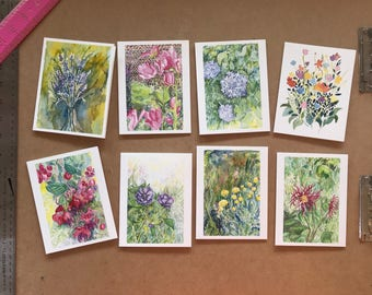 Flower Greeting Cards set of 8 (A2)