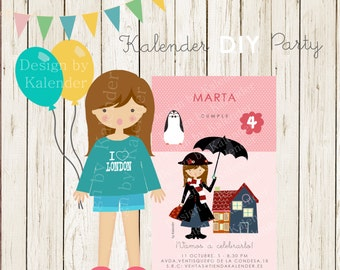 Personalized Birthday Party. Teenager Mary Poppins invitation DIY Printable.